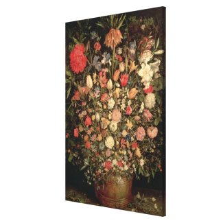 Large bouquet of flowers in a wooden tub canvas print