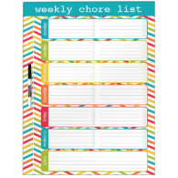 Large Bright Weekly Chore List Dry Erase Board