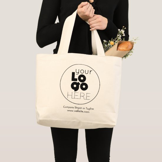 Large Custom Cotton Tote Bag with Logo No Minimum