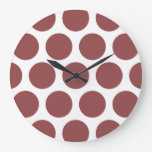 Large Polka Dots Pattern: Rustic Red Large Clock
