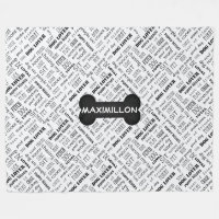 LARGE sized Bone and Word Cloud Black and White Fleece Blanket