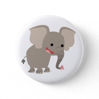 Laughing Cartoon Elephant Button Badge button