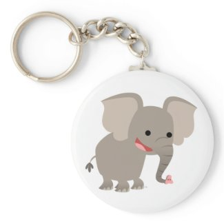 Laughing Cartoon Elephant Keychain keychain