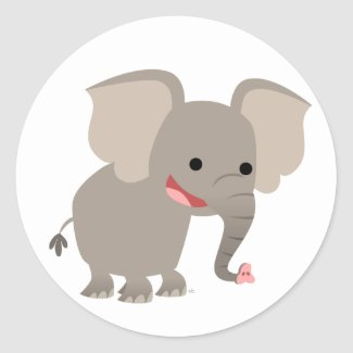 Laughing Cartoon Elephant Sticker sticker