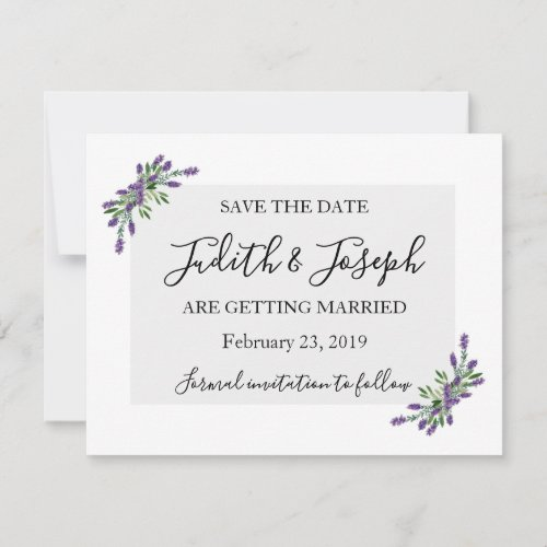Lavender And Sage Save the Date Holiday Card