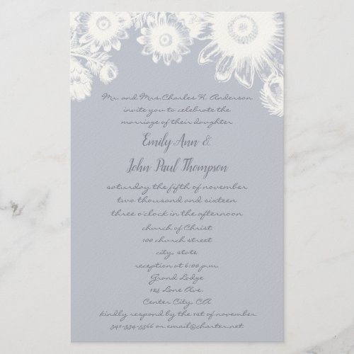 Lavender Icicle Vintage Floral Wedding Invitations