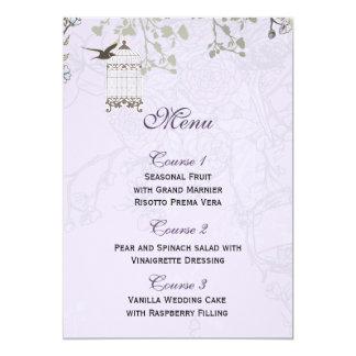 Lavender Lilac Vine Birdcage Birds Wedding Card