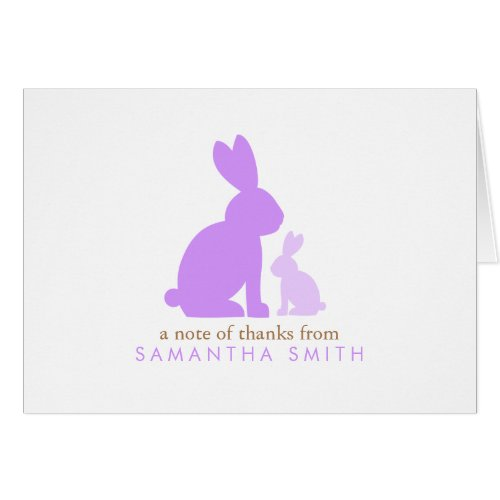 Lavender Mom and Baby Rabbit Thank You Notes