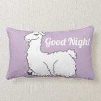 Lavender Sleepy Llama Good Night Lumbar Pillow