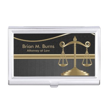 Law | Scales of Justice  | Lawyer - Gold and Black Case For Business Cards