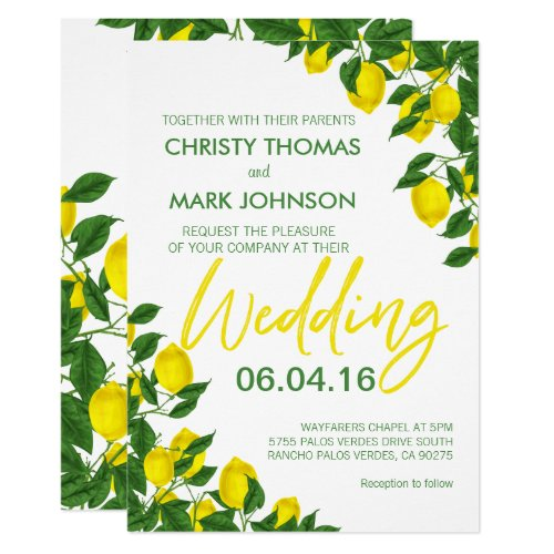 Lemon Summer Wedding Invitation by Bizzy Bee Creation
