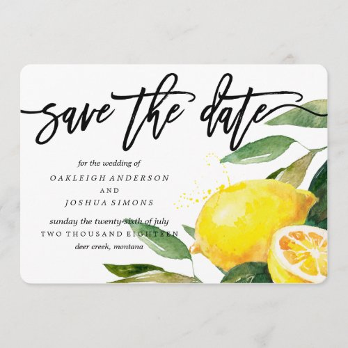 Lemon Watercolor Save the Date Script