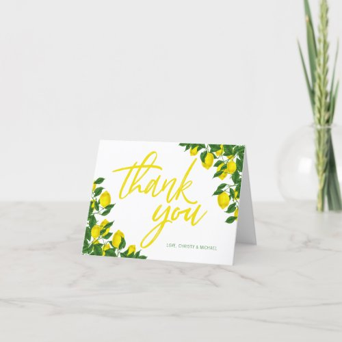 Lemon Watercolor Summer Bridal Shower Thank You Card