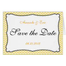Lemon Yellow Chevron Fancy Border Card