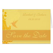 Lemon Yellow Hummingbird & Flourishes Card