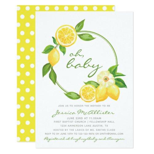 Lemon Yellow Wreath Citrus Polkadot Baby Shower Invitation