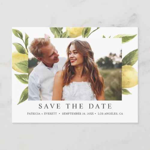 Lemons and leaves Photo  SAVE THE DATE Announcement Postcard