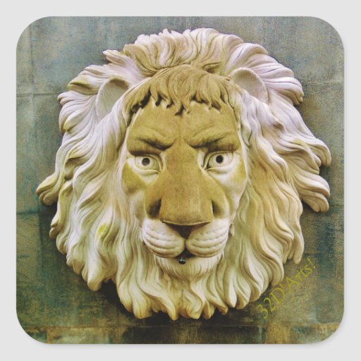'Lenny the Lion' of Massa, Square Stickers, Glossy