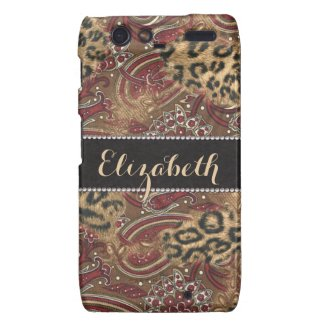 Leopard and Paisley Pattern Print to Personalize Motorola Droid RAZR Cover
