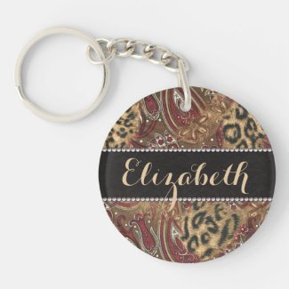 Leopard and Paisley Pattern Print to Personalize Acrylic Keychain