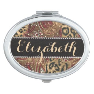 Leopard and Paisley Pattern Print to Personalize Travel Mirrors
