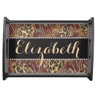 Leopard and Paisley Pattern Print to Personalize Serving Tray