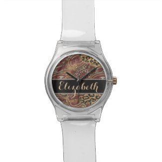 Leopard and Paisley Pattern Print to Personalize Wrist Watches