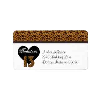 Leopard: Fabulous 13th Birthday Address Labels.