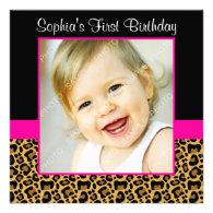 Leopard Hot Pink Girls Photo 1st Birthday Party Custom Invitations