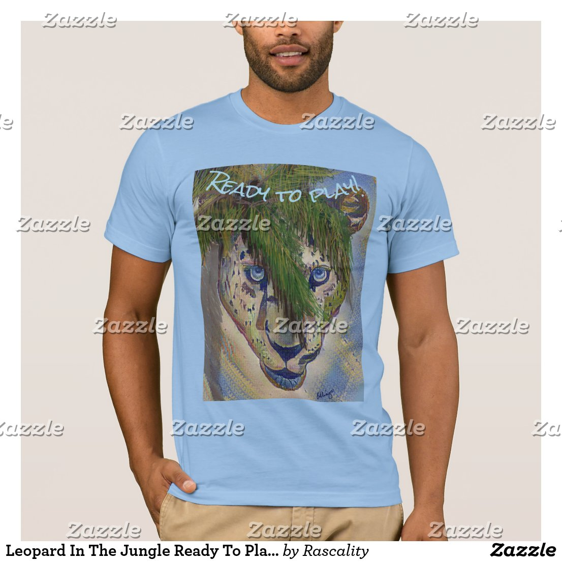 Leopard In The Jungle Ready To Play...Editable T-Shirt