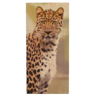 Leopard Photograph Image Wood USB Flash Drive