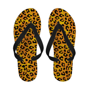 Leopard Print and Paws Orange Yellow Personalized Flip Flops