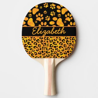 Leopard Print and Paws Orange Yellow Personalized Ping-Pong Paddle