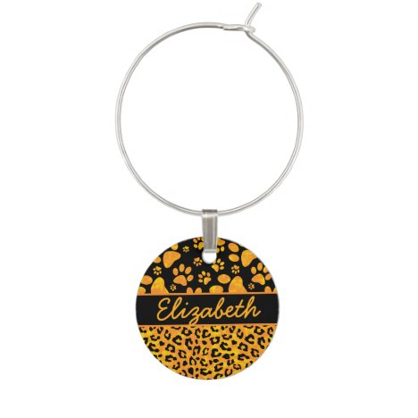 Leopard Print and Paws Orange Yellow Personalized Wine Glass Charm