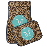Leopard Print and Turquoise Custom Monogram Floor Mat