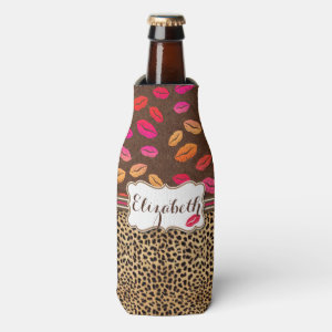 Leopard Print Lips Kisses Personalized Bottle Cooler