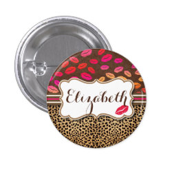 Leopard Print Lips Kisses Personalized Button