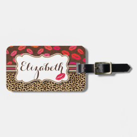 Leopard Print Lips Kisses Personalized Tag For Luggage