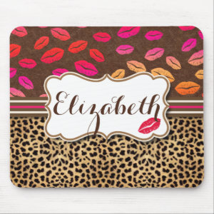 Leopard Print Lips Kisses Personalized Mouse Pad