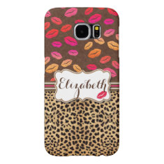Leopard Print Lips Kisses Personalized Samsung Galaxy S6 Case