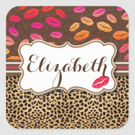 Leopard Print Lips Kisses Personalized Square Sticker