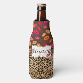 Leopard Print Lips Kisses Personalized Bottle Cooler