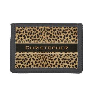 Leopard Skin Pattern Personalize Trifold Wallets