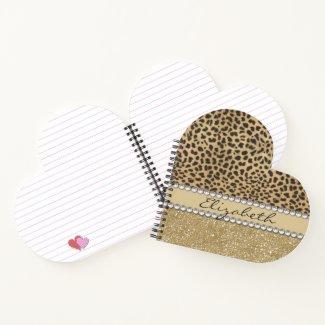 Leopard Spot Gold Glitter Rhinestone Add Name Notebook