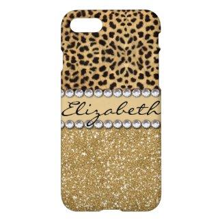 Leopard Spot Gold Glitter Rhinestone iPhone 8/7 Case