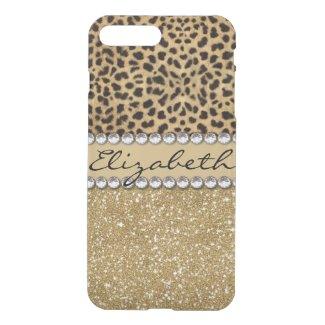 Leopard Spot Gold Glitter Rhinestone iPhone 8 Plus/7 Plus Case