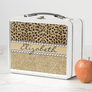 Leopard Spot Gold Glitter Rhinestone Metal Lunch Box