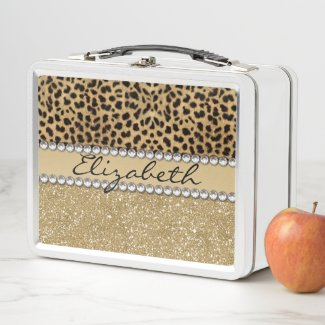 Leopard Spot Gold Glitter Rhinestone Metal Lunch Box