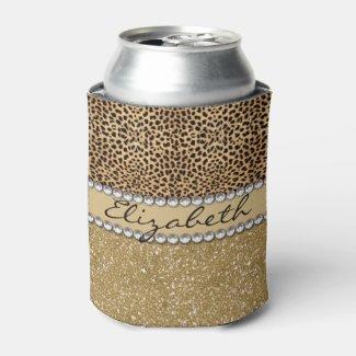 Leopard Spot Gold Glitter Rhinestone PHOTO PRINT Can Cooler