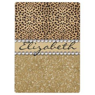 Leopard Spot Gold Glitter Rhinestone PHOTO PRINT Clipboard